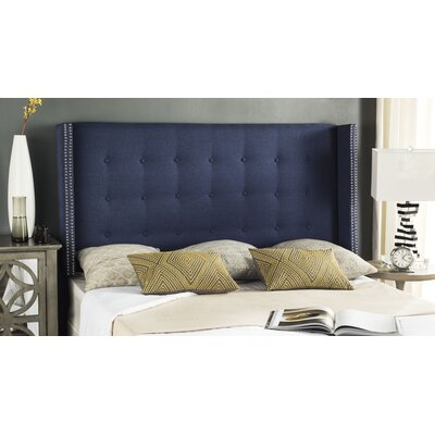 Keisha Upholstered Wingback Headboard Upholstery: Navy, Size: Queen