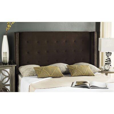 Keisha Upholstered Wingback Headboard Size: Twin, Upholstery: Chocolate Velvet