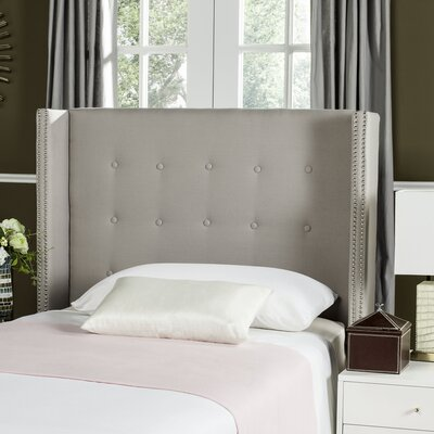 Keisha Upholstered Wingback Headboard Size: Queen, Upholstery: Taupe