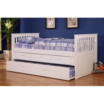 Kaitlyn Twin Slat Bed with Storage Configuration: 3 Drawers + 1 Trundle Unit, Finish: White