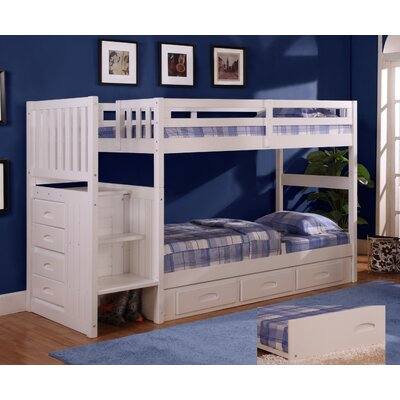 Kaitlyn Twin over Twin Bunk Bed with Stairs Finish: White
