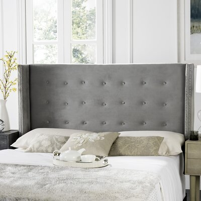 Keisha Upholstered Wingback Headboard Upholstery: Pewter, Size: Twin