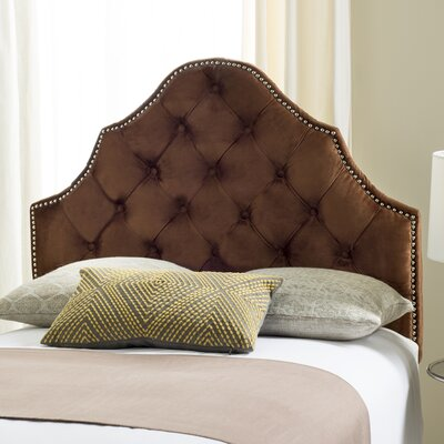 Christophe Upholstered Panel Headboard Size: Full, Color: Chocolate, Upholstery: Velvet