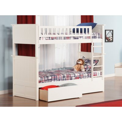 Abbie Twin Over Full Bunk Bed with Drawers Bed Frame Color: White