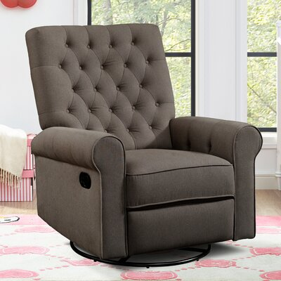 Arlen Traditional Roll Arm Swivel Recliner