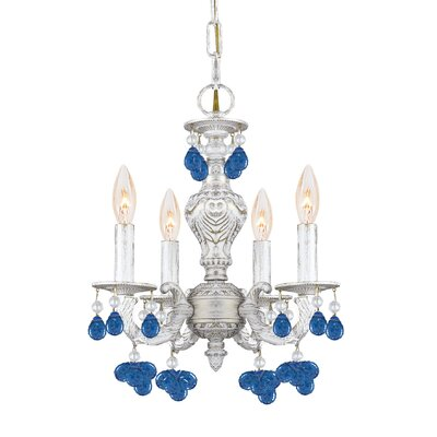 Odessa 4-Light Crystal Chandelier Crystal Color: Blue