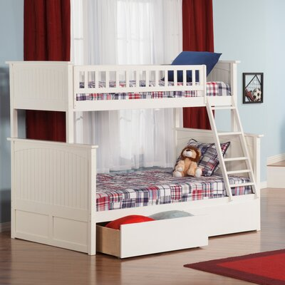 Maryellen Bunk Bed with Storage Size: Full over Full, Color: White