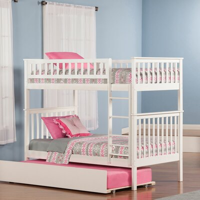Shyann Twin over Twin Bunk Bed with Trundle Color: White