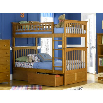 Henry Bunk Bed with Storage Size: Twin over Full, Color: Caramel Latte