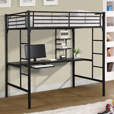 Jose Twin Loft Bed with Workstation Finish: Black