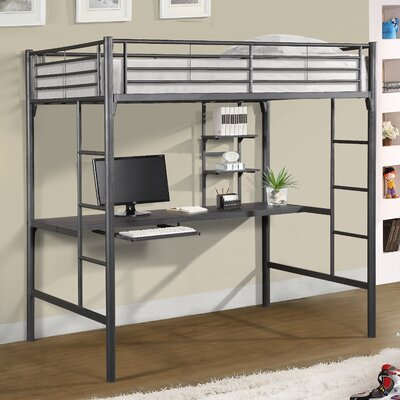 Jose Twin Loft Bed with Workstation Color: Gray