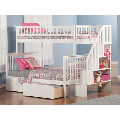 Shyann Bunk Bed with Storage Color: White