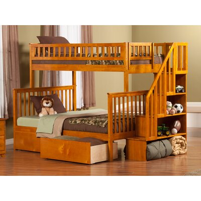 Shyann Bunk Bed with Storage Color: Caramel Latte