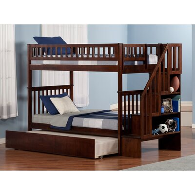 Shyann Bunk Bed with Trundle Color: Antique Walnut