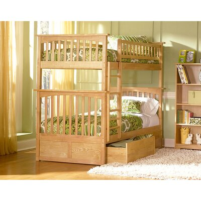 Henry Bunk Bed with Storage Size: Twin over Twin, Color: Natural Maple