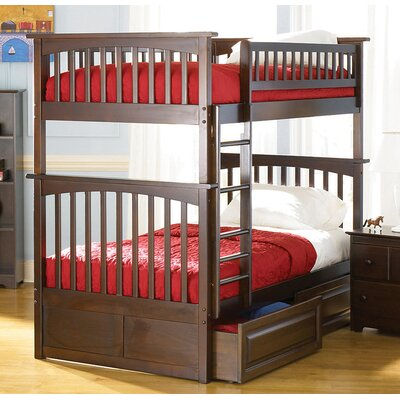 Henry Bunk Bed with Storage Size: Twin over Twin, Color: Antique Walnut
