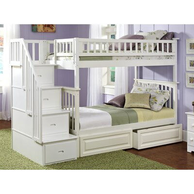Henry Bunk Bed with Storage Configuration: Twin over Full, Finish: White