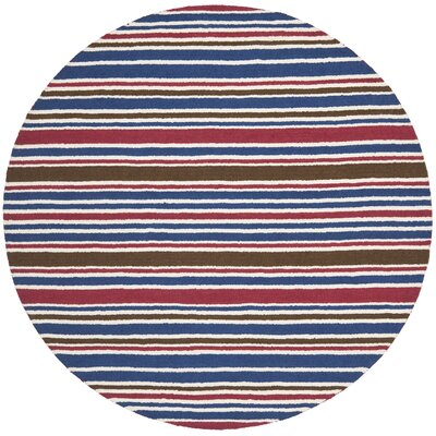 Lew Hand-Tufted Wool Blue/Red Area Rug Rug Size: Round 6