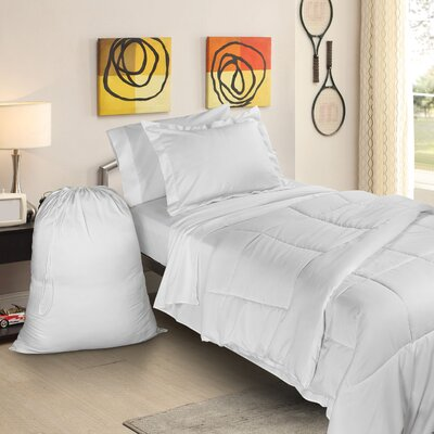 Rob 6 Piece Twin XL Bed-In-A-Bag Set Color: White