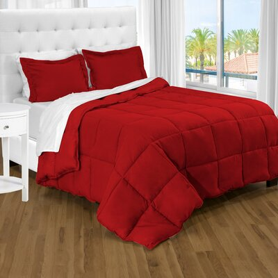 Karlie Ultra Soft Down Alternative 2 Piece Twin XL Comforter Set Color: Red