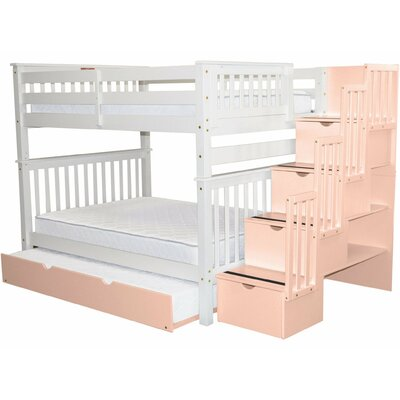 Andrea Full over Full Bed with Trundle Bed Frame Color: White/Pink