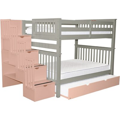 Andrea Full over Full Bed with Trundle Bed Frame Color: Gray/Pink
