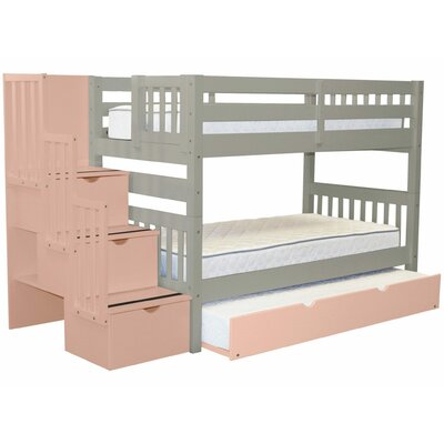 Shamar Stairway Twin Over Twin Bunk Bed with Trundle Bed Frame Color: Gray/Pink