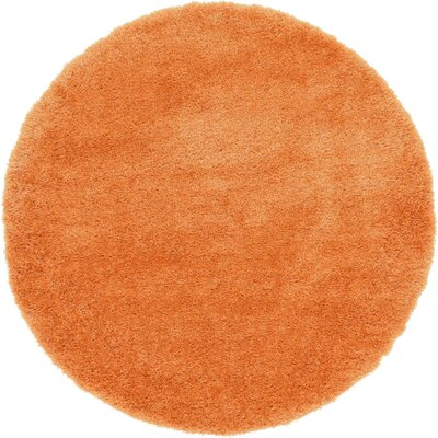 Evelyn Orange Area Rug Rug Size: Round 8