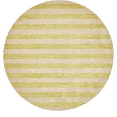 Travis Traditional Green/Beige Area Rug Rug Size: Round 8
