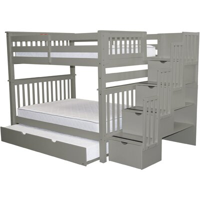 Vivienne Full over Full Bed with Full Trundle Bed Frame Color: Gray