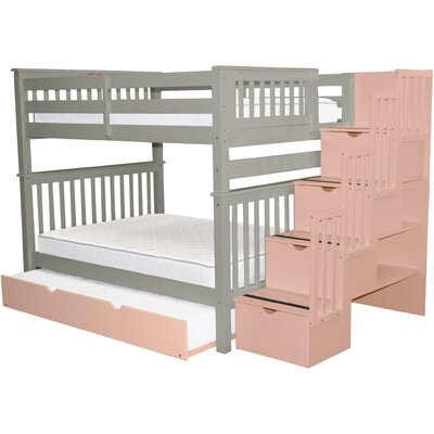 Vivienne Full over Full Bed with Full Trundle Bed Frame Color: Gray/Pink