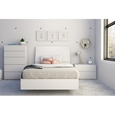 Mullet Platform Bed Size: Twin, Color: White