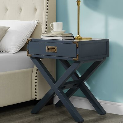 Agostino 1 Drawer Nightstand Finish: Graphite Blue