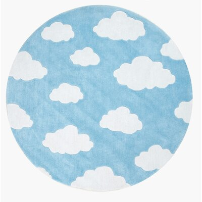 Lily Cloudy Sachiko Hand-Tufted Blue Area Rug Rug Size: Round 5