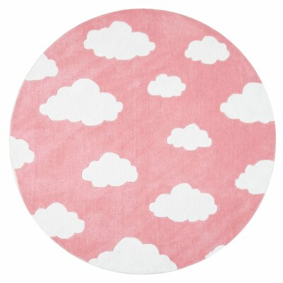 Lily Cloudy Sachiko Hand-Tufted Pink Area Rug Rug Size: Round 5