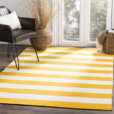 Ike Hand-Woven Yellow/White Area Rug Rug Size: Rectangle 4 x 6