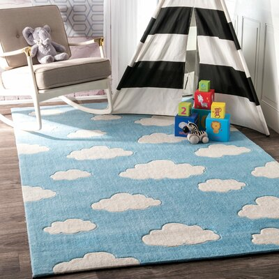 Lily Cloudy Sachiko Hand-Tufted Blue Area Rug Rug Size: Rectangle 76 x 96