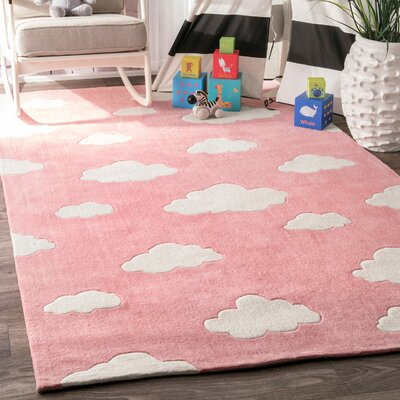 Lily Cloudy Sachiko Hand-Tufted Pink Area Rug Rug Size: Rectangle 76 x 96