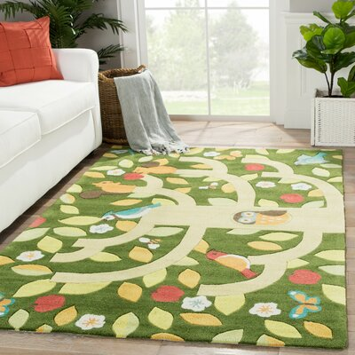 Annie Hand-Tufted Green/Yellow Area Rug Rug Size: Rectangle 4 x 6