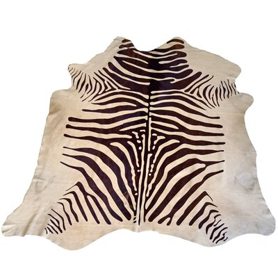 Designer Cowhides Printed Zebra Brown/White Area Rug