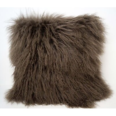 Tibetan Lamb Fur Throw Pillow Color: Pewter, Size: 16 x 16 x 4