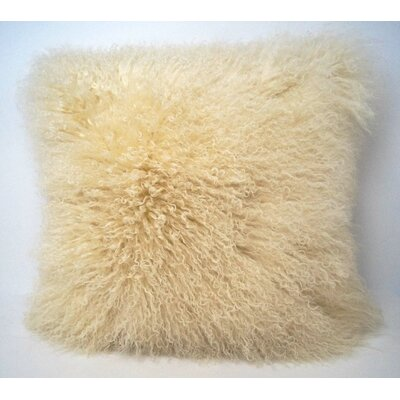 Tibetan Lamb Fur Throw Pillow Color: Cream, Size: 16 x 16 x 4