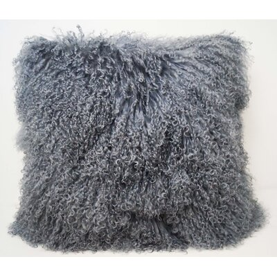 Tibetan Lamb Fur Throw Pillow Color: Steel Gray, Size: 16 x 16 x 4