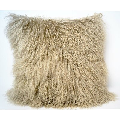 Tibetan Lamb Fur Throw Pillow Color: Champagne, Size: 16 x 16 x 4