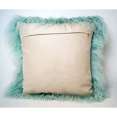 Tibetan Lamb Fur Throw Pillow Color: Aqua, Size: 16 x 16 x 4