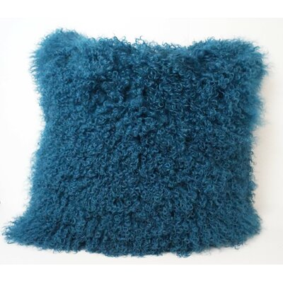 Tibetan Lamb Fur Throw Pillow Color: Turquoise, Size: 16 x 16 x 4