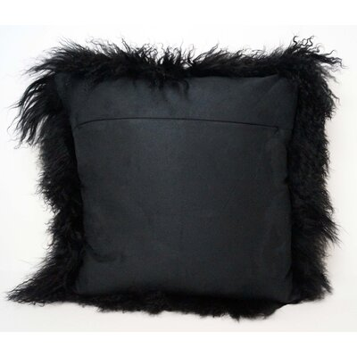 Tibetan Lamb Fur Throw Pillow Color: Black, Size: 20 x 20 x 6