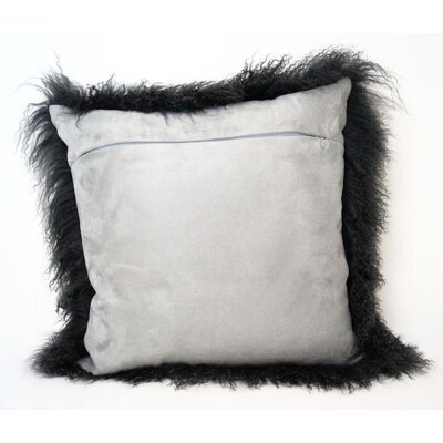 Tibetan Lamb Fur Throw Pillow Color: Charcoal, Size: 16 x 16 x 4