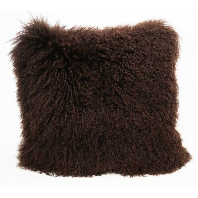 Tibetan Lamb Fur Throw Pillow Color: Chocolate, Size: 16 x 16 x 4