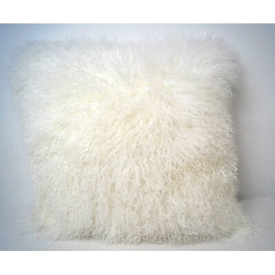 Tibetan Lamb Fur Throw Pillow Color: White, Size: 16 x 16 x 4